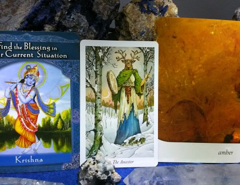 The Cards: Ascended Masters by Doreen Virtue, Ph.D.; The Crystal Oracle by Toni Carmine Salerno; The Wildwood Tarot by Mark Ryan, John Matthews and Will Worthington;