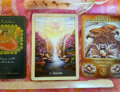 The Cards: Oracle of the Angels by Mario Duguay; Goddess Inspiration Oracle Guide by Kris Waldherr; Spirit of the Wheel by Linda Ewashina, illustrated by Jody Bergsma;
