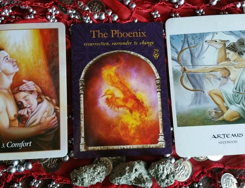 The Cards: Wisdom of the Hidden Realms by Colette Baron-Reid; Oracle of the Angels by Mario Duguay; The Goddess Oracle by Amy Sophia Marashinsky.