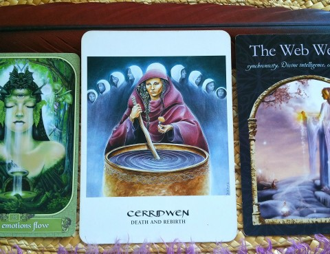 The Cards: Messenger Oracle by Ravynne Phelan; The Goddess Oracle by Amy Sophia Marashinsky; Wisdom of the Hidden Realms by Colette Baron-Reid.