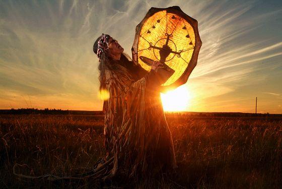 Tuvan Shaman Drumming in Sunrise