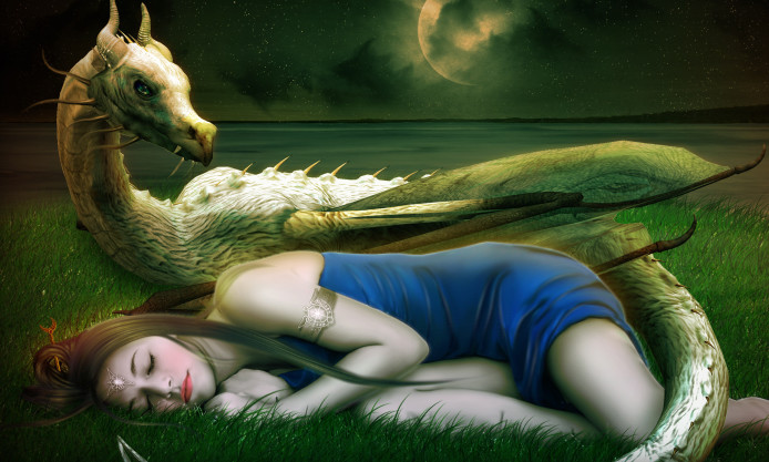 Dragon Sleeping Woman from magicforwallsdotcom - Mara Clear
