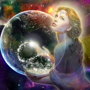Shamanic Online Support Circle Goddess holding Stars and Earth
