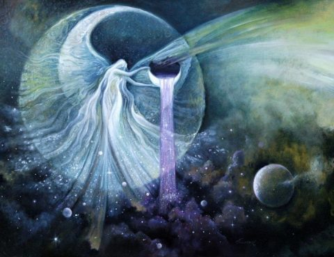 Fire Panic Water Ceremony Pisces New Moon Solar Eclipse Goddess of the Stars by Freydoon Rassouli