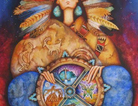 Summer solstice shamanic soul compass Nahimana - Native Goddess Of The Medicine Wheel by Holly Sierra Art