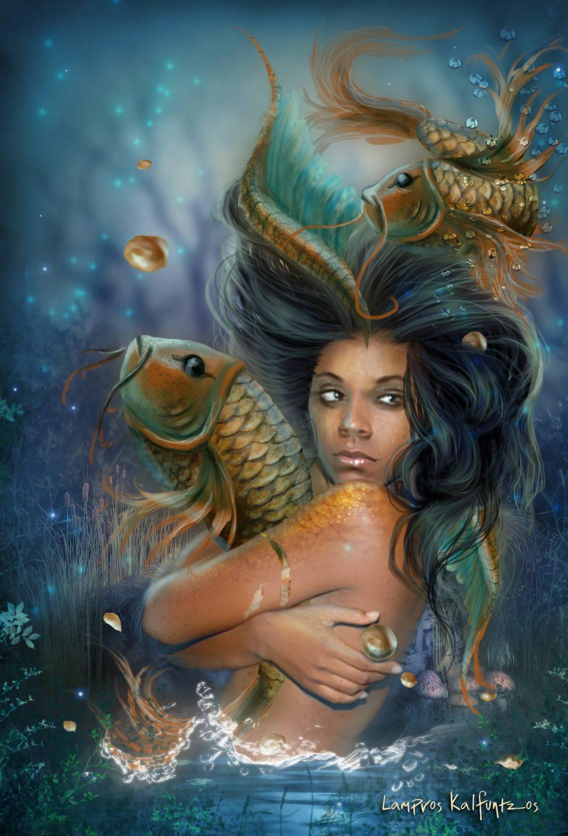 Dangling Dreams Pisces Mermaid by Lampros Kalfuntzos