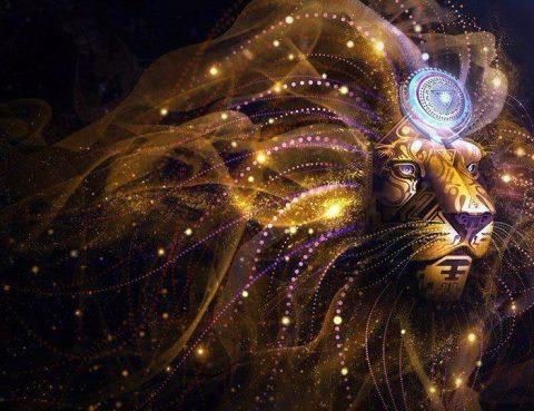 Fractal tribal cosmic lion by Chris Saunders Art Lions Gate Activation
