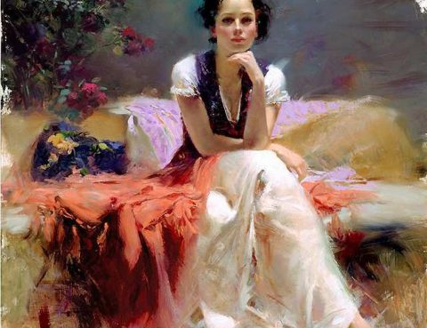 Inconvenient feelings - woman seated by pino Daeni