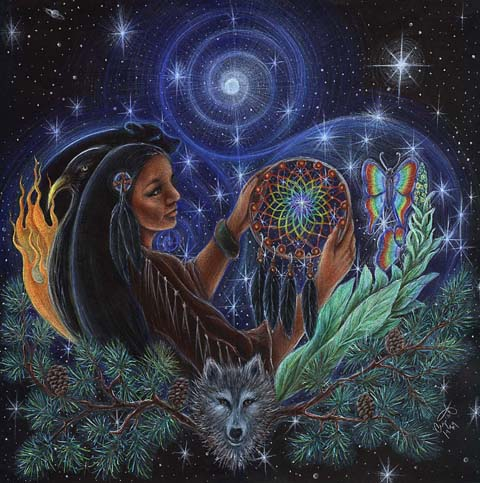 The Smoke Clears - shamanic woman dream catcher