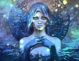 Cosmic confusion woman in water