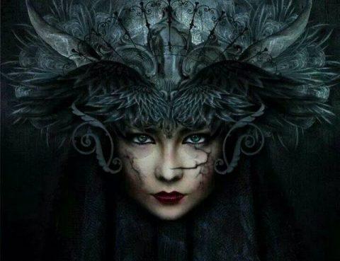 Venus Retrograde in Scorpio feather raven woman helmet